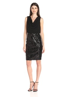 Calvin Klein Women's Cowl Neck Jersey Bodice with Sequin Skirt