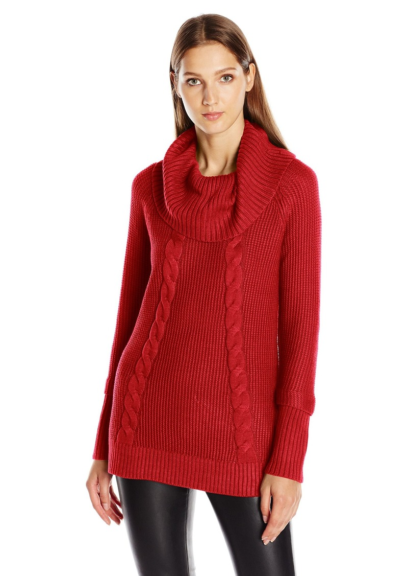 Calvin Klein Women's Cowl Neck Sweater with Thermal Stitch