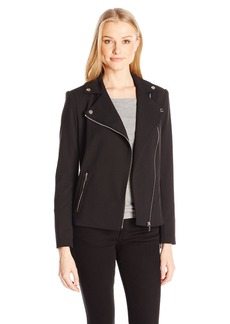 Calvin Klein Women's Crepe Moto Jacket
