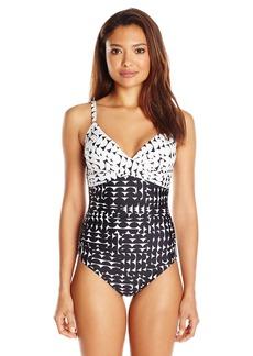 Calvin Klein Women's Crescent Geo Twist One Piece Swimsuit