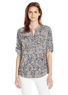 Calvin Klein Women's Crew Neck Roll Sleeve Blouse  M