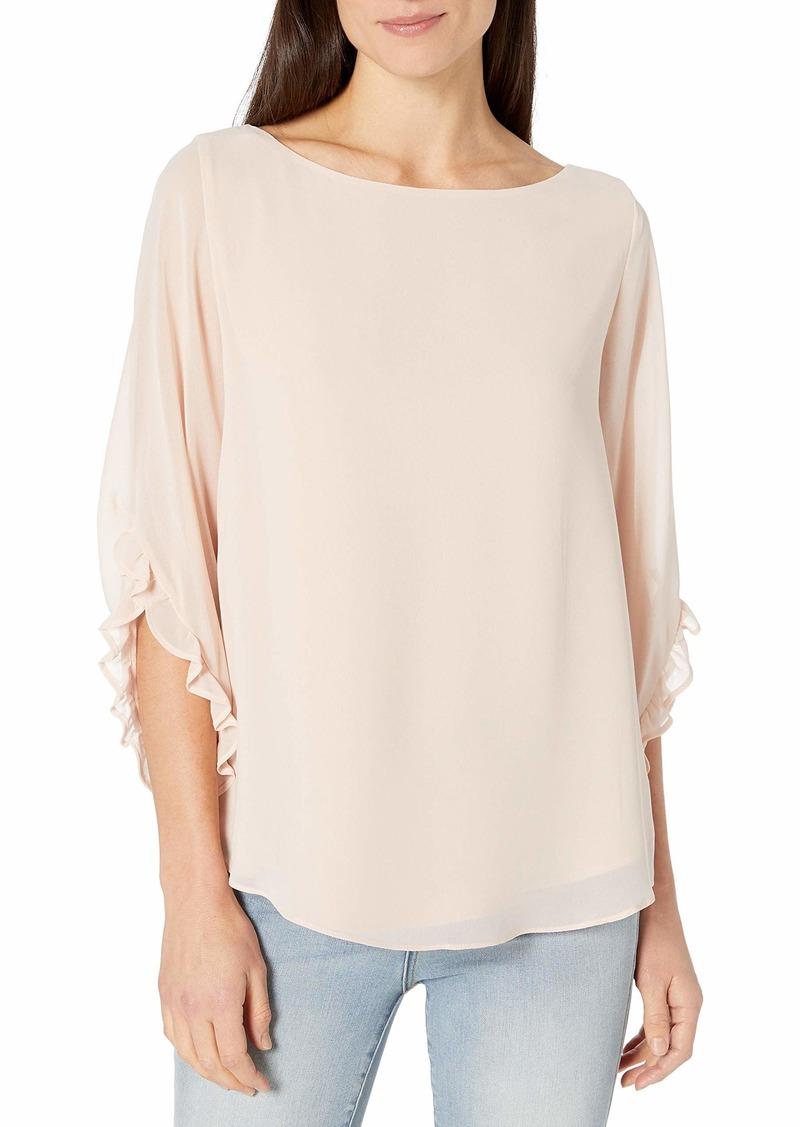 Calvin Klein Women's Crew Neck Ruffle Sleeve Blouse
