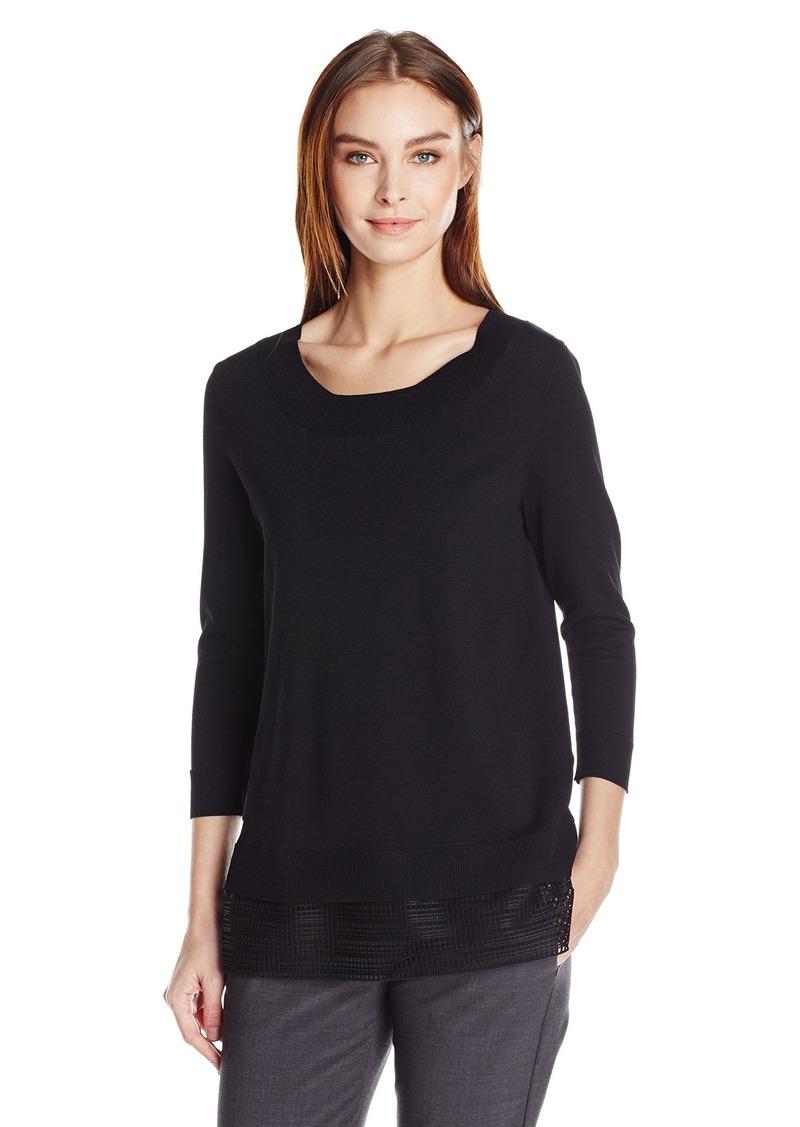 Calvin Klein Women's Crew Neck Sweater with Mesh Detail  M