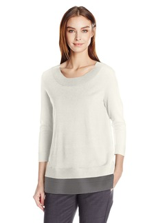 Calvin Klein Women's Crew Neck Sweater W/ Mesh Detail  S