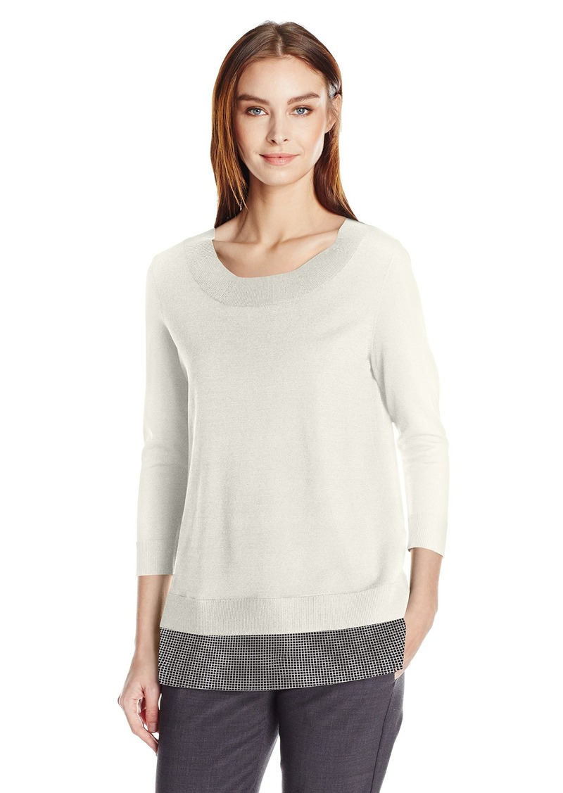 Calvin Klein Women's Crew Neck Sweater with Mesh Detail  S