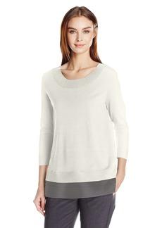 Calvin Klein Women's Crew Neck Sweater W/Mesh Detail  M