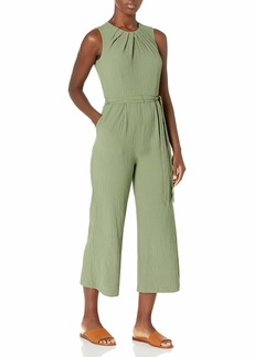 Calvin Klein Women's Cropped Jumpsuit with Pleated Neck