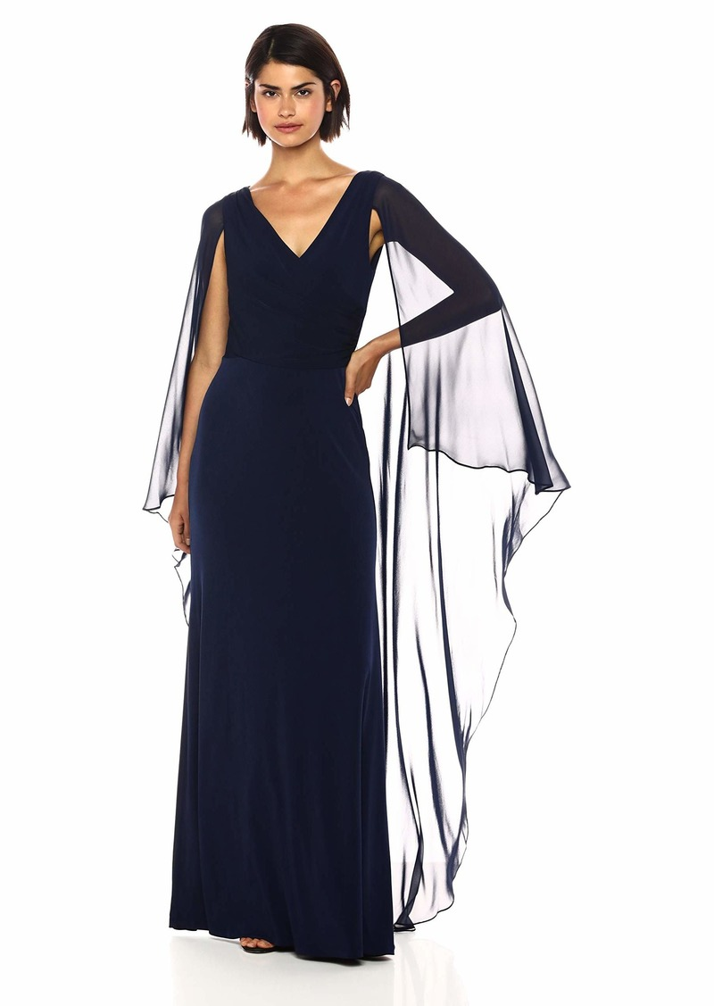 Calvin Klein Women's Cross Front V Neck Gown with Chiffon Caplet
