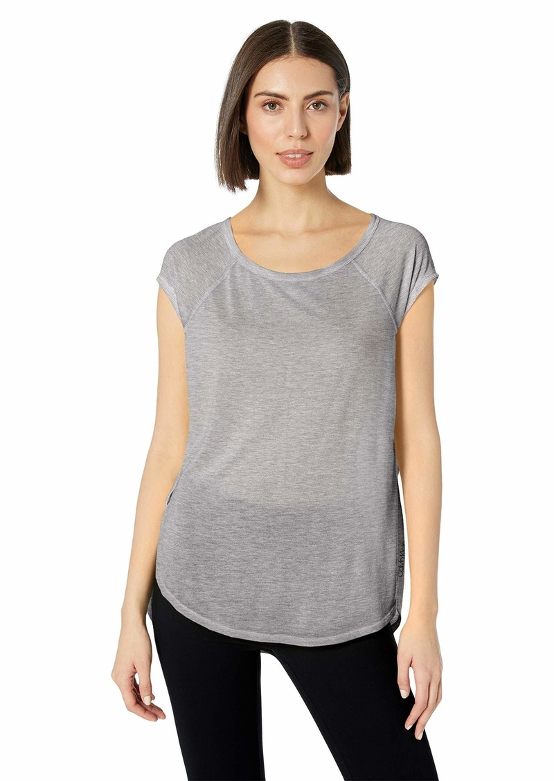 Calvin Klein Women's Curved Hem Tee with Back Cut Out
