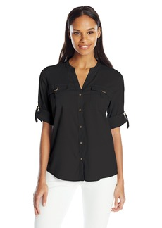 Calvin Klein Women's D-Ring Pocket Blouse
