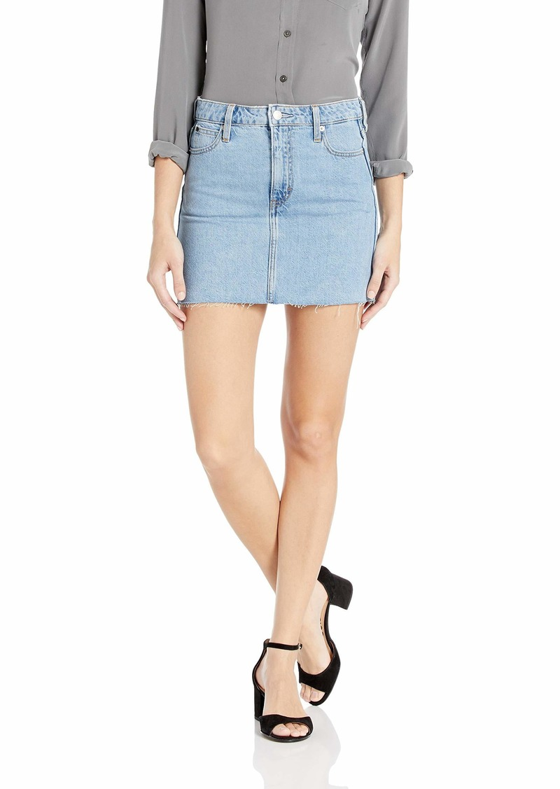 Calvin Klein Women's Denim Mini Jean Skirt Light Stone raw