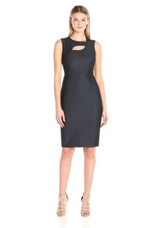 Calvin Klein Women's Denim Sheath Dress with Neck Cut Out