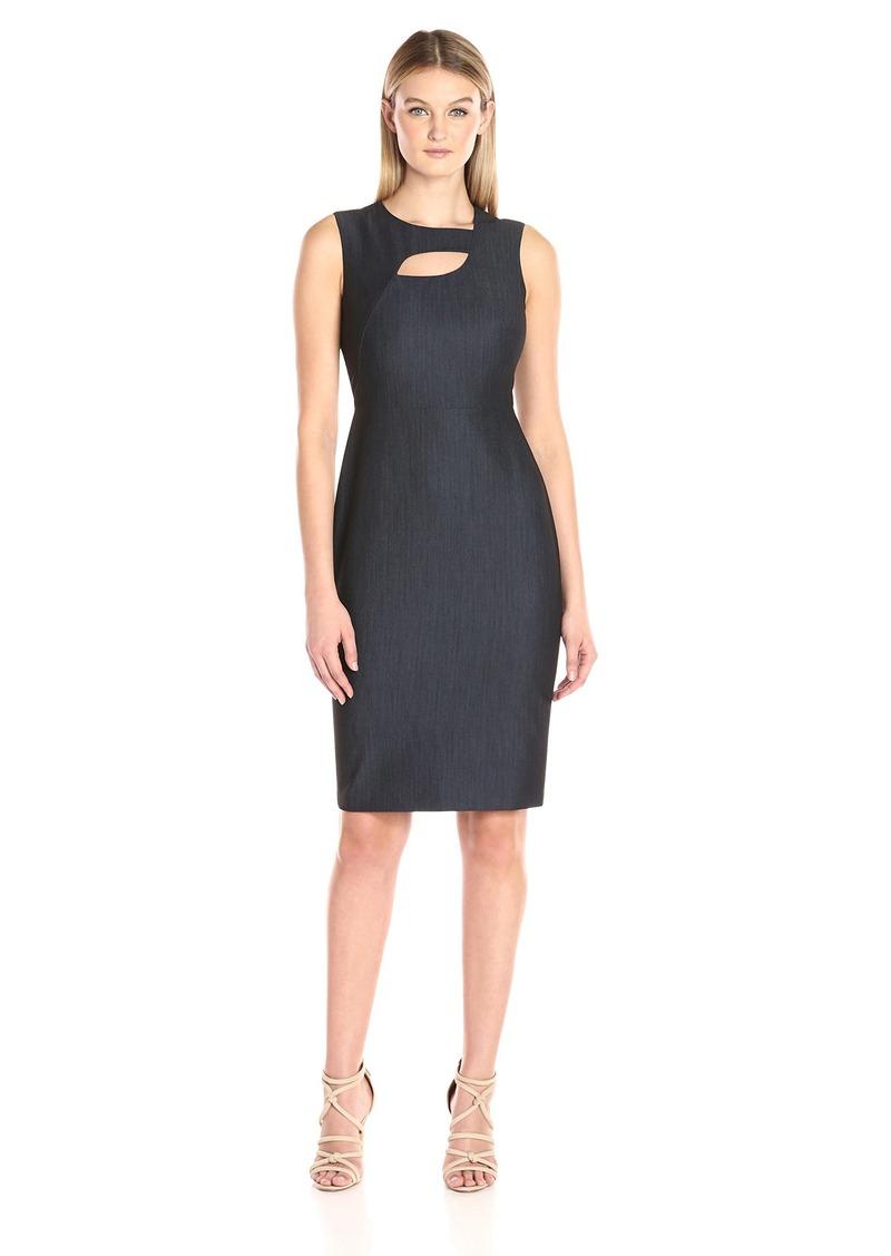 Calvin Klein Women's Denim Sheath Dress with Neck Cut Out