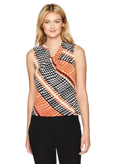 Calvin Klein Women's Diagonal Printed Knot Neck Cami  L