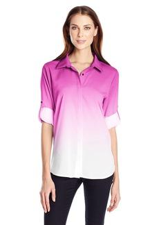 Calvin Klein Women's Dip Dye Button Front  edium