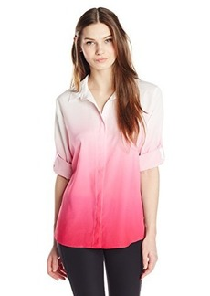 Calvin Klein Women's Dip Dye Roll Sleeve Top  X-Small