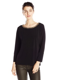 Calvin Klein Women's Dolman Top with Braid Chain