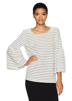 Calvin Klein Women's Dot Textured Bell Sleeve Top  L