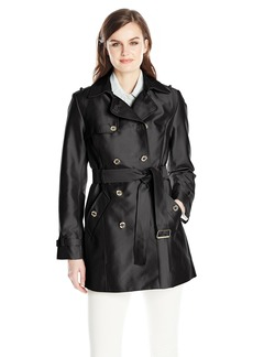 Calvin Klein Women's Double Breasted Polished Satin Trench Coat  arge