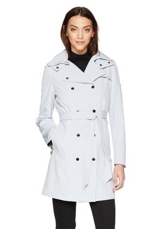 Calvin Klein Women's Double Breasted Rain Jacket with Hood  powder blue S