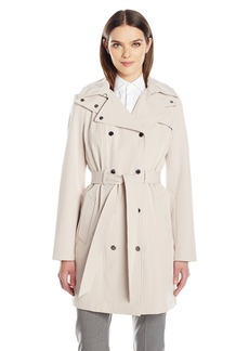 Calvin Klein Women's Double Breasted Rain Trench Jacket With Belt and Mesh Lining  M