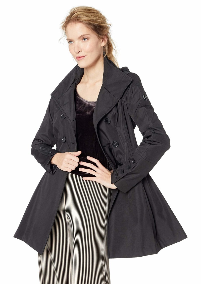 Calvin Klein Women's Double Breated rain Coat with Pleated Skirt and Detachable Hood