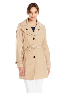 Calvin Klein Women's Double Collar Single Breasted Rain Trench