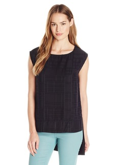 Calvin Klein Women's Double-ayer Sheer Shell Blouse  arge