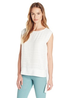 Calvin Klein Women's Double-Layer Sheer Shell Blouse