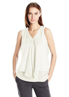 Calvin Klein Women's Double Layered Eyelet Top  XL