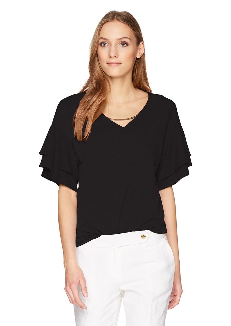 Calvin Klein Women's Double Ruffle Short Sleeve with Chain  XL
