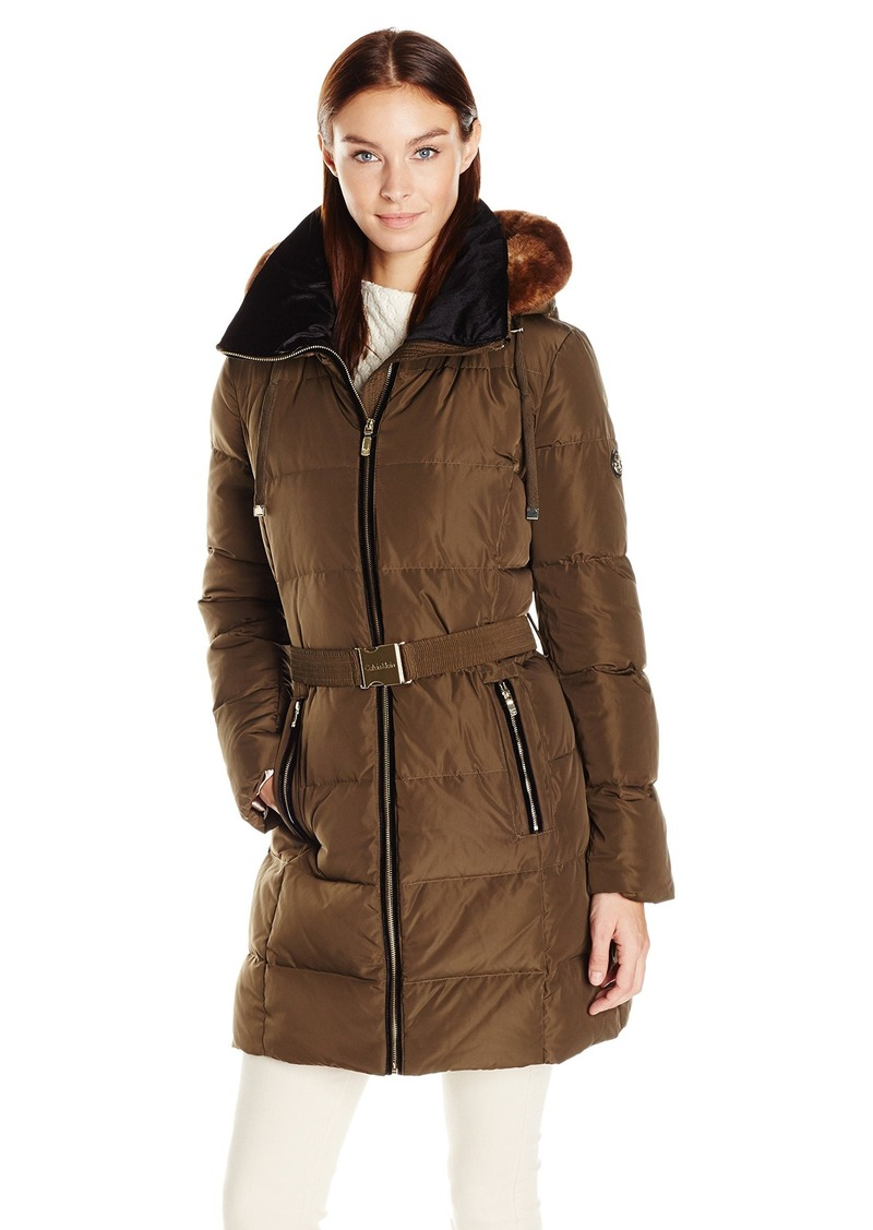 Calvin Klein Women's Down Belted Puffer Long Coat with Faux Fur Trimmed Hood  M