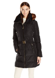 Calvin Klein Women's Down Belted Puffer Long Coat with Faux Fur Trimmed Hood  S