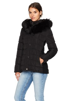 Calvin Klein Women's Down Puffer Coat With Dramatic Faux Fur Trimmed Hood  XS