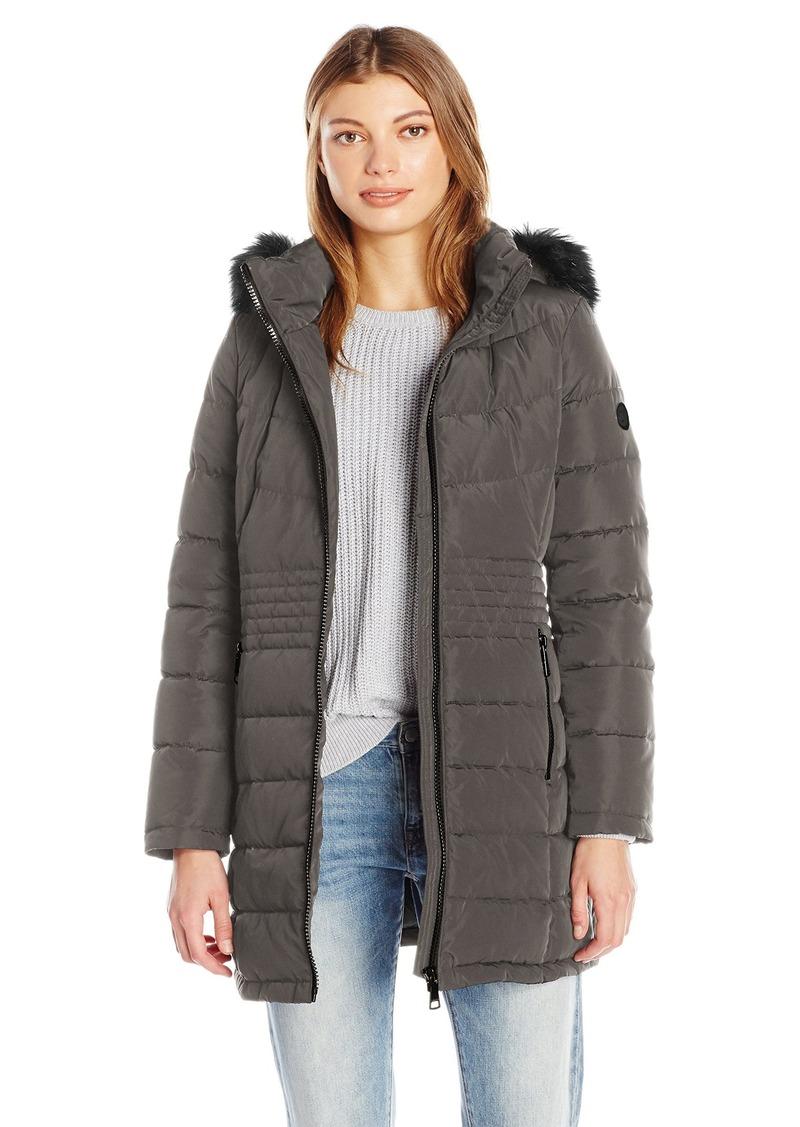 Calvin Klein Women's Down Puffer Long Coat with Faux Fur Trimmed Hood  L