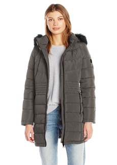 Calvin Klein Women's Down Puffer Long Coat with Faux Fur Trimmed Hood  M