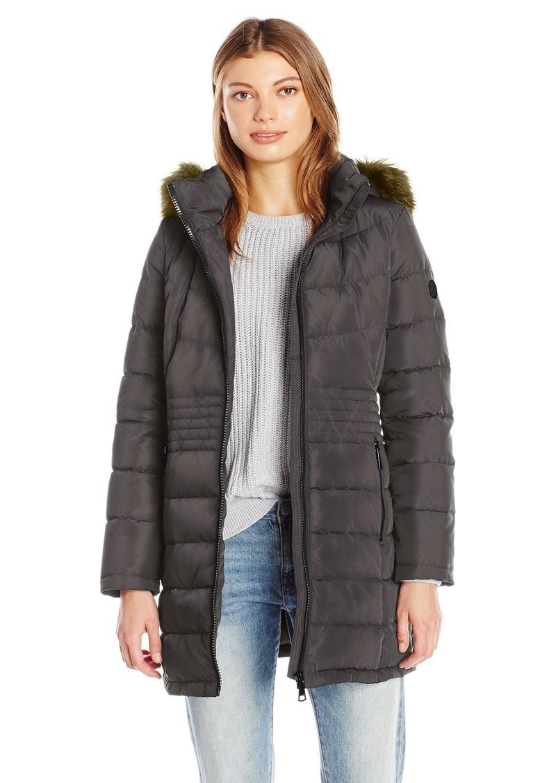 Calvin Klein Women's Down Puffer Long Coat with Faux Fur Trimmed Hood  S