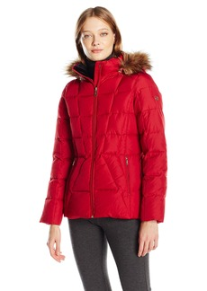 Calvin Klein Women's Down Puffer Short Coat with Faux Fur Trimmed Hood  L