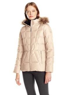 Calvin Klein Women's Down Puffer Short Coat with Faux Fur Trimmed Hood  S
