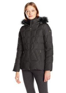 Calvin Klein Women's Down Puffer Short Coat with Faux Fur Trimmed Hood  S