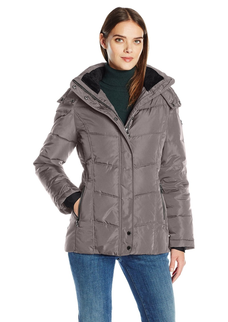 Calvin Klein Women's Down Puffer Short Coat with Hood  L