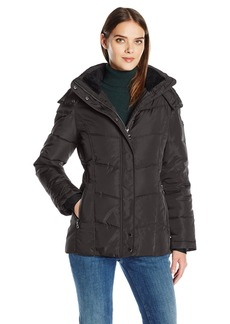 Calvin Klein Women's Down Puffer Short Coat with Hood  XS