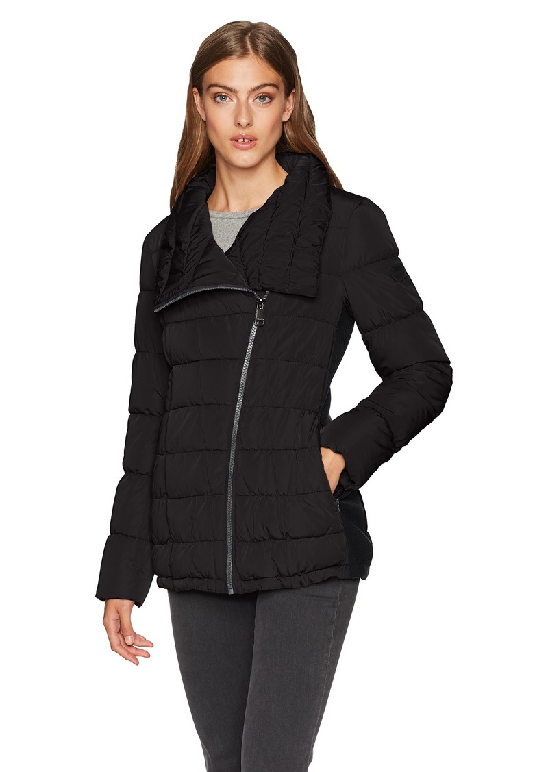 Calvin Klein Women's Dramatic Collar Down Coat with Side Stretch Detail  M