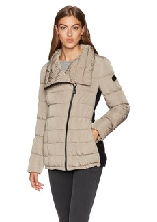 Calvin Klein Women's Dramatic Collar Down Coat with Side Stretch Detail Tawny owl XS