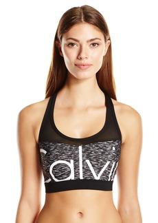 Calvin Klein Women's Space Dye Printed Mesh Insert Sports Bra Bikini Top  XL