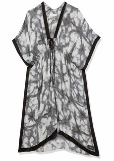 Calvin Klein Women's Dye Swim 00% Viscose Cover Up with Adjustable Tie GRAY