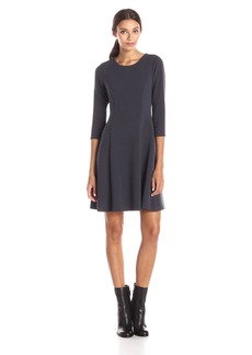 Calvin Klein Women's Elbow Sleeve Fit and Flare Dress