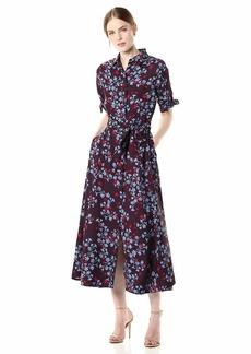 Calvin Klein Women's Elbow Sleeve Maxi Shirt Self Belt Dress