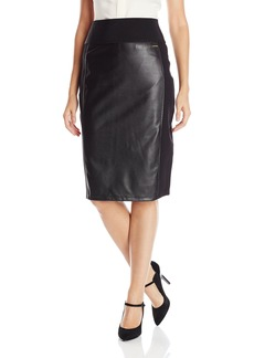 Calvin Klein Women's Essential Power Stretch Pleather Front Skirt