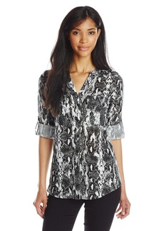 Calvin Klein Women's Essential Printed Linen Roll Sleeve Top